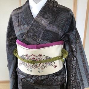 汕頭刺繍風大島紬に染めの帯