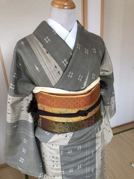 芥子系縞袋名古屋帯。