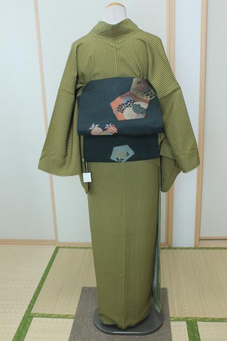 緑×芥子縞小紋