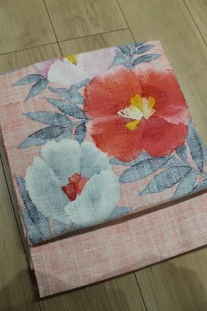 ピンク地花文紬帯