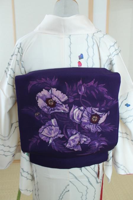 紫地アート風花文帯