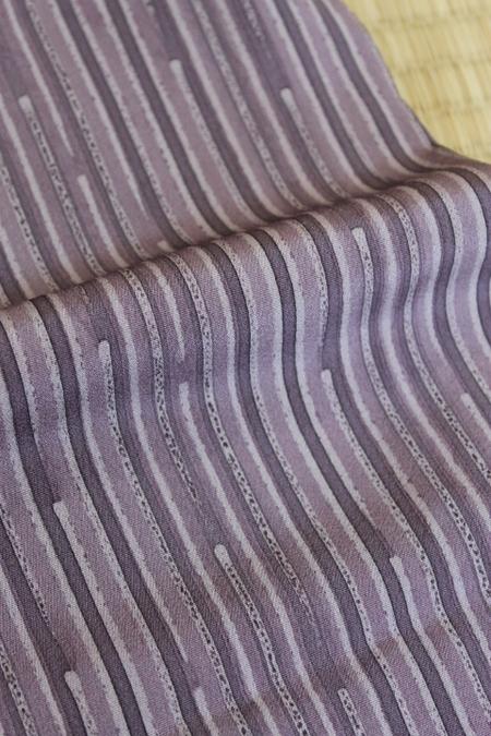 紫変わり縞単衣小紋