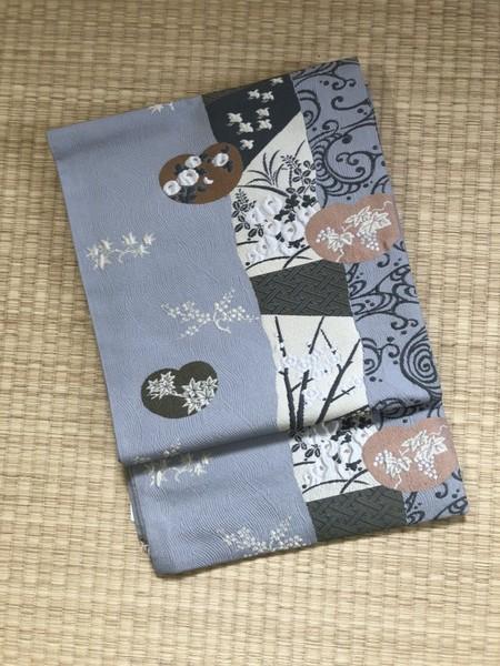 草花文洒落袋帯