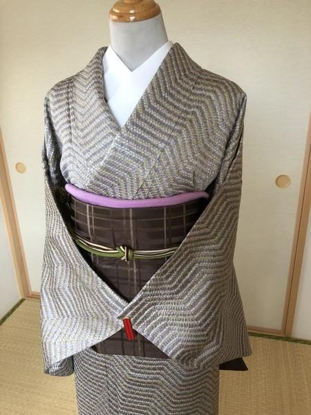 茶格子京袋帯